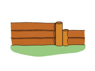 Assemblage d'une bordure en rondins