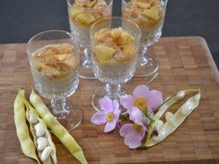 Verrines de haricots tarbais pommes et poires sautées