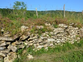 Mur en pierre sèche bordant un chemin