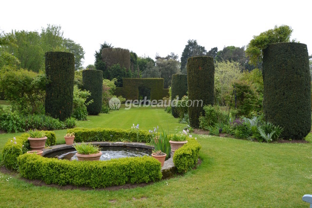 Perspective de topiaires d'ifs et bassin (Jardins et parc du Bois des Moutiers)