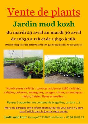 Vente exceptionnelle de plants de tomates anciennes, légumes et fleurs - PONT-MELVEZ - Avril 2019